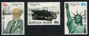 Norfolk 'Ameripex '86' International Stamp Exhibition Chicago 3v SG#385-387