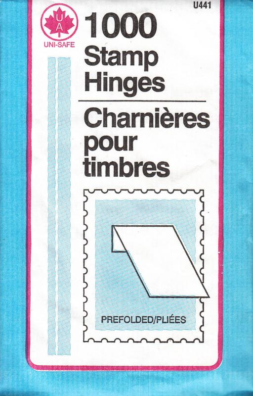 5 UNOPENED PACKS OF UNI-SAFE STAMP HINGES 1000 EACH  FOLDED LOWEST PRICE ON EBAY
