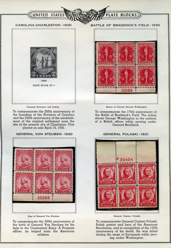 UNITED STATES PLATE BLOCK LOT B IN SEALED MOUNTS BELIEVED TO BE MINT NH AS SHOWN