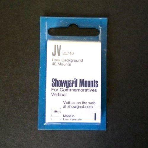Showgard Stamp Mounts JV 25 / 40 BLACK Background Package of 40