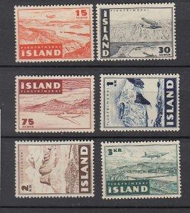 J25730 JLstamps 1947 iceland set mh #c21-6 airplanes