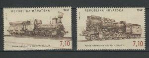 Croatia 2012 Trains Locomotives / Railroads 2 MNH stamps