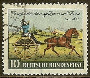 Stamp Germany Sc 0692 1952 Bundespost Thurn and Taxis Position Centennial Used