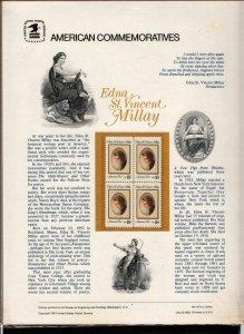 1981 Sc CP147 Edna St. Vincent Millay USPS commemorative panel Sc 1926