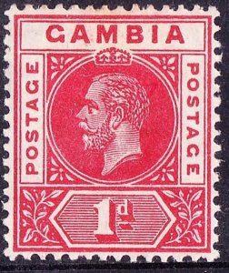 GAMBIA 1916 KGV 1d Scarlet SG87a MH