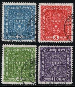 Austria 1918  Scott #172-5 granite paper used (CV 53.75)