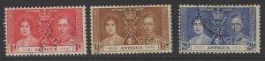 ANTIGUA SG95/7 1937 CORONATION FINE USED