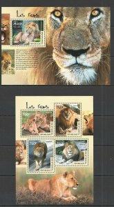 TG405 2014 TOGO FAUNA WILD ANIMALS WILD CATS LIONS KB+BL MNH