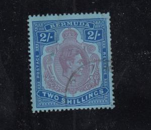 BERMUDA  # 123 VF-USED  2sh KING GEORGE VI / ULTRA,RED & VIOLET CAT VALUE $12