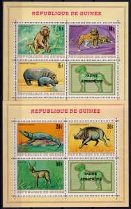Guinea 1968 Sc#514a/517a/518a AFRICAN ANIMALS 3 Souvenir Sheets Perforated MNH