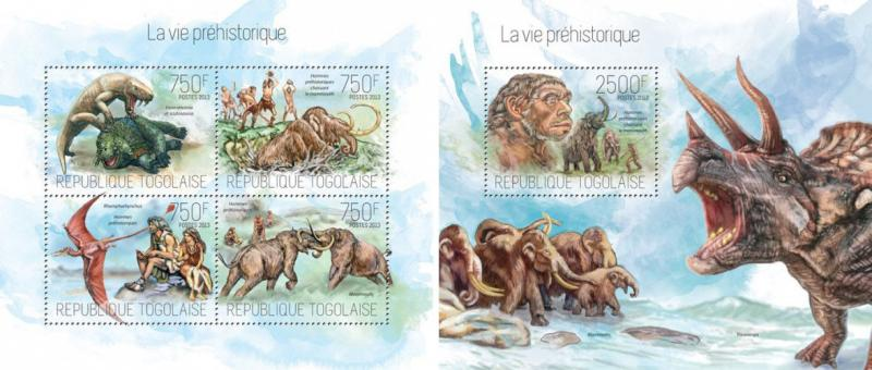 Prehistoric Humans Homo Sapiens Dinosaurs Fauna Animals Togo MNH stamp set