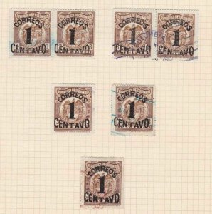 COLOMBIA 1925 OVERPRINTS STAPS STUDY ON 1 PAGE MOUNTED MINT & USED  REF 5316