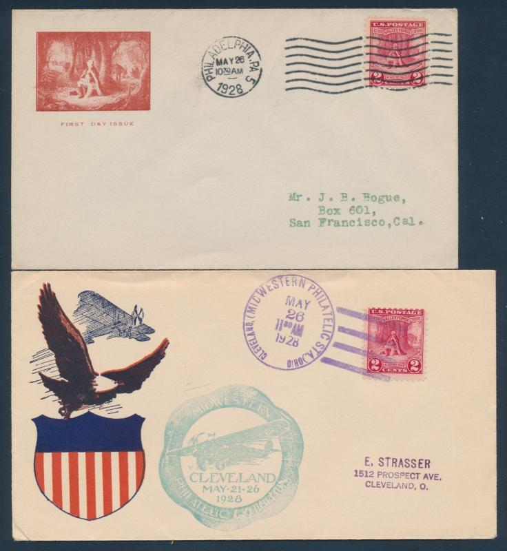 #645 ON (2) DIFF FIRST DAY COVER CACHETS MAY 26,1928 PHILA, PA CV $120 BU977