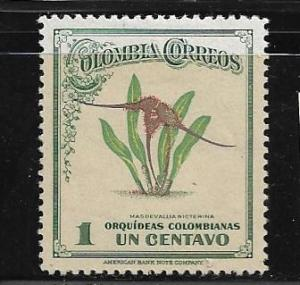 COLOMBIA,546, MIINT HINGED, COLOMBIAN ORCHID
