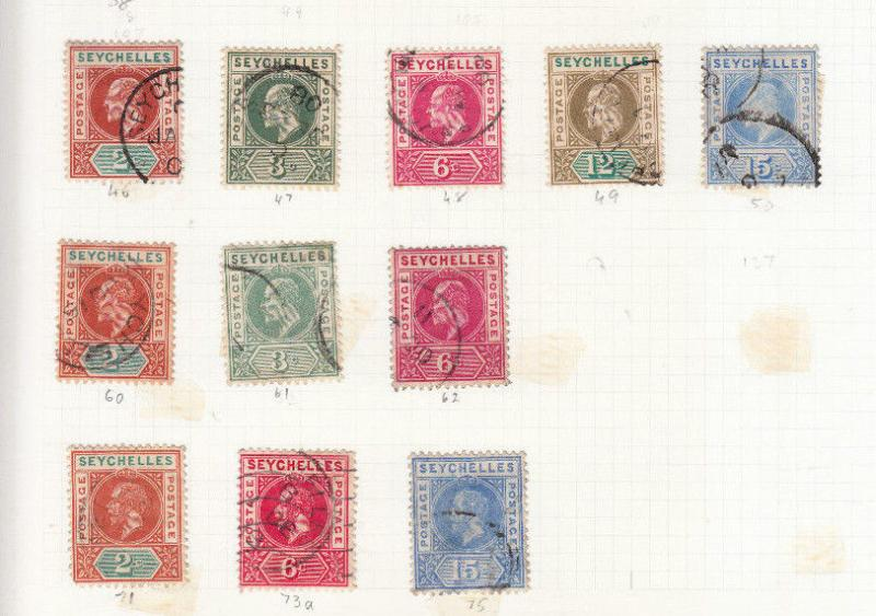 SEYCHELLES EDWARD 7TH TO GEORGE 5TH VALUES/SETS USED SG46 TO SG109