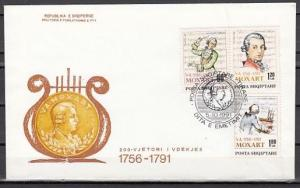 Albania, Scott cat. 2385-2387. Composer W. A. Mozart issue. First day cover.