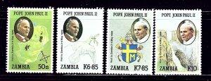 Zambia 470-73 MNH 1989 Pope John Paul II Visit    (ap1081)