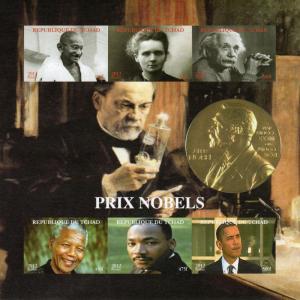Chad 2012 Nobel Prize/GANDHI/Einstein/Obama Sheetlet (6) Imperforated MNH