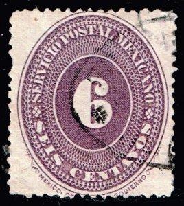 MEXICO STAMP 1886 Numeral Stamps, Inscription SERVICIO POSTAL MEXICANO 6C USED