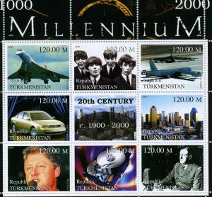 Turkmenistan 1999 Millennium 1900-2000 De Gaulle-Concorde Sheet Perforated mnhvf