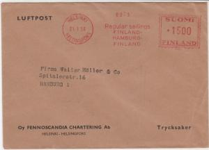 Finland 1956 Airmail Helsinki Cancel to Germany Stamps Cover ref R 18602