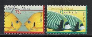 Christmas Island #374-5 comp used Scott cv $4.25 Fish