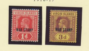 British Virgin Islands Scott #MR1 To MR2, Mint Light Hinge Marks MLH, War Sta...