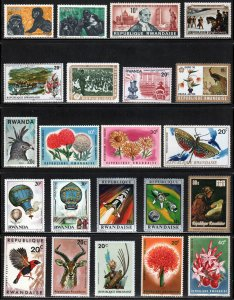 Rwanda ~ Collections of 73 Different Unused Stamps ~ NH, HM, HR, MX