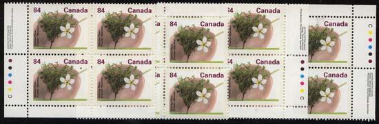 Canada USC #1371 Mint MS Imprint Blocks VF-NH Cat. $40. 1991 Stanley Plum