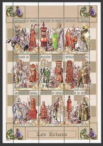 Senegal 1354-1356 ai sheets,MNH. Chess pieces,scenes of the Crusades,1999.