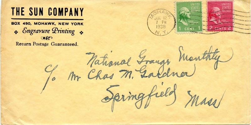 U.S. Scott 804 & 806 Prexies On 1st Class 1938 Mohawk, NY Cover From Printing Co
