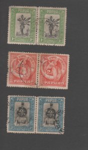 Papua 1 Stamps 1932 1d 2d 3d pairs Life in Papua SG131-134 used  X6 Includes 2X