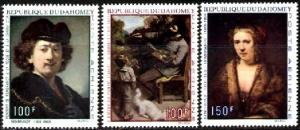Paintings, by Rembrandt, Courbet, Dahomey SC#C113-5 MNH set