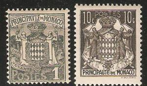 Monaco Coat of Arms two stamps