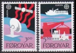 1988 Faroe Islands 166-167 Satellite / Satellite Dish / Europa CEPT 2,50 €