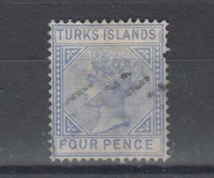 Turks Islands QV 1881 4d Ultramarine SG50 Fine Used Cat £60 J5924