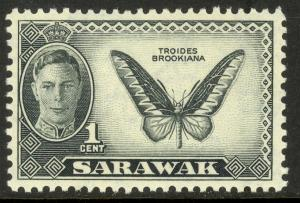 SARAWAK 1950 KGVI 1c BUTTERFLY Pictorial Sc 180 MNH