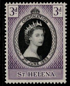 ST. HELENA QEII SG152, 3d black & deep reddish violet 1953 CORONATION, M MINT.