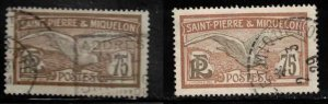 ST PIERRE & MIQUELON Scott # 102 Used x 2 - Bird - Fulmar Petrel Shades