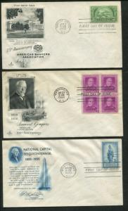 1950 United States Commemoratives First Day Cover Set of 11 - Stamps #987-997