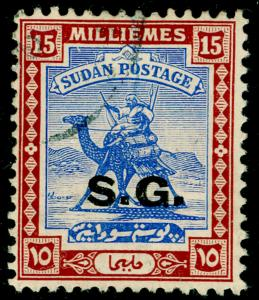 SUDAN SGO38a, 15m brt blue & chestnut, FINE USED. CHALKY.