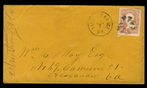 US #65 ON COVER, VFXF stamp, fancy cancel, old classic cover to Alexandra, VA...