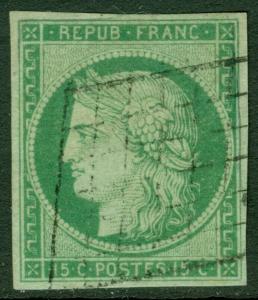 EDW1949SELL : FRANCE 1849 Scott #2 Beautiful VF, Used 4 margin stamp Cat $900.00