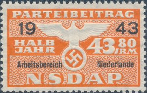 Stamp Germany Revenue Holland WWII 1943 3rd Reich Nazi Era Party Due 43.80 MNG