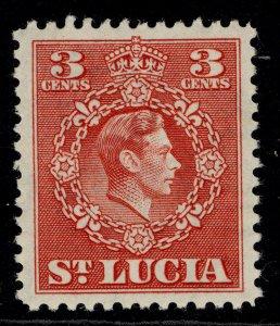 ST. LUCIA GVI SG148, 3c scarlet, M MINT.