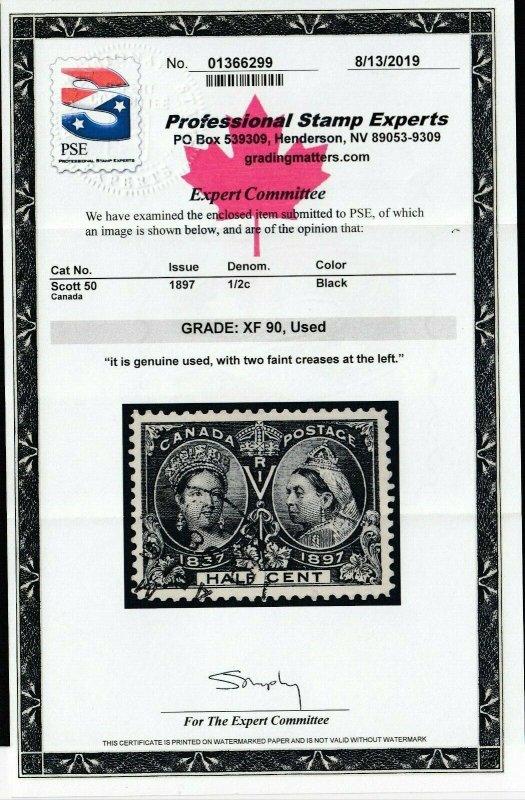 Canada Sc 50, used (faint crease), PSE Graded 90 (SMQ $195.00)