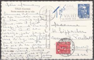 France - 10.8.1953 Postage Due PC to Switzerland (2678)