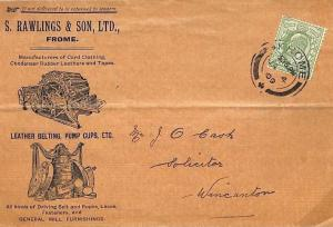 GB SOM ADVERTISING Rawlings & Son *Frome* Wincanton Cover LEATHER 1909 AD87