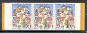 Sweden Sc 1617b 1986 Christmas stamp bklt pane mint NH