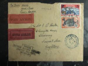 1929 Hanoi Vietnam First Flight Cover to Paris France Bellonte Costes 500 flown